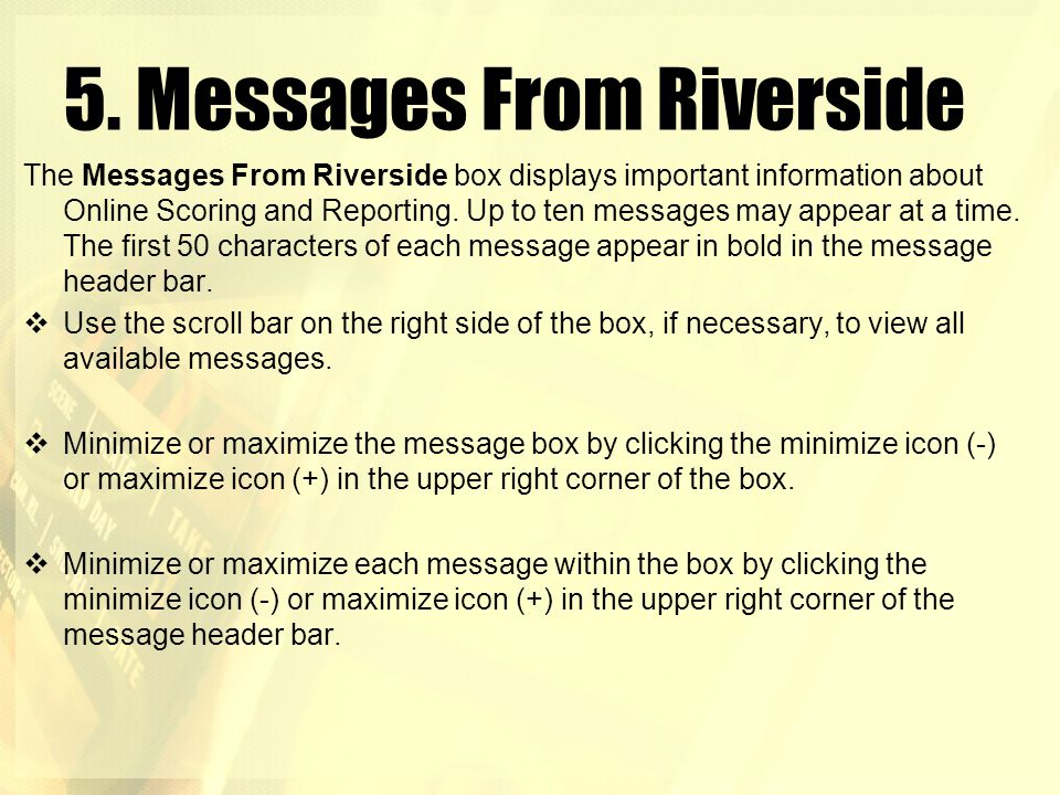 5. Messages From Riverside