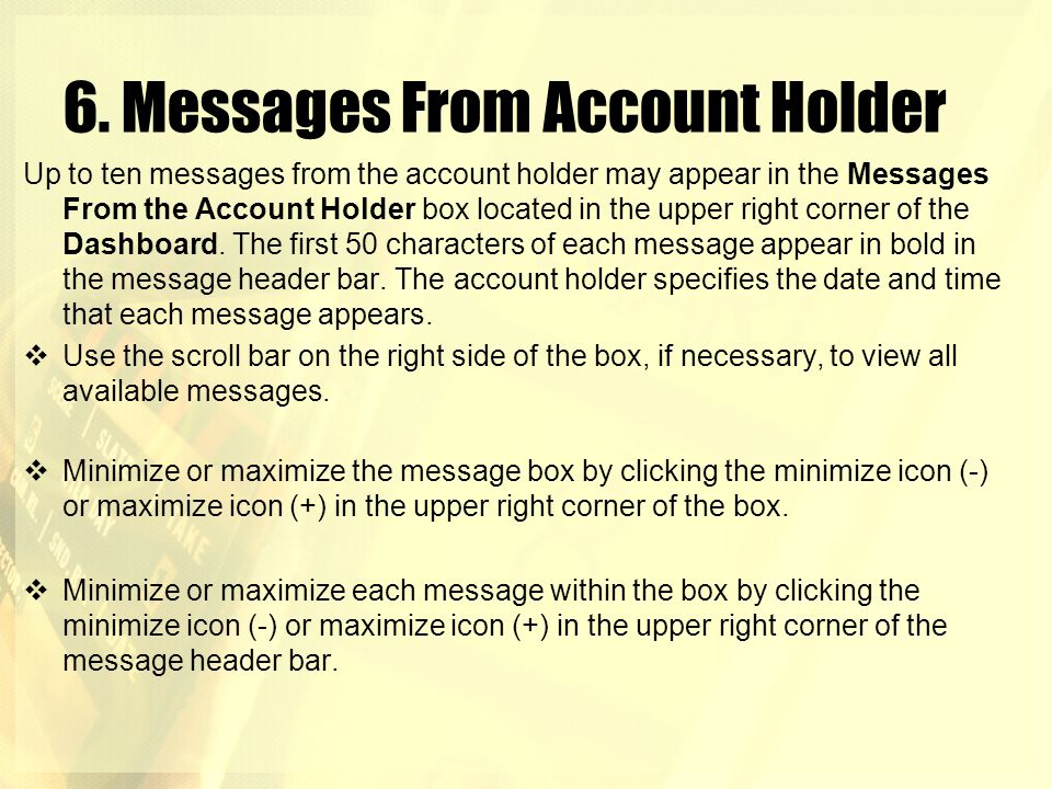 6. Messages From Account Holder