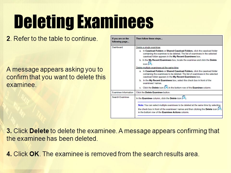 Deleting Examinees 2. Refer to the table to continue.