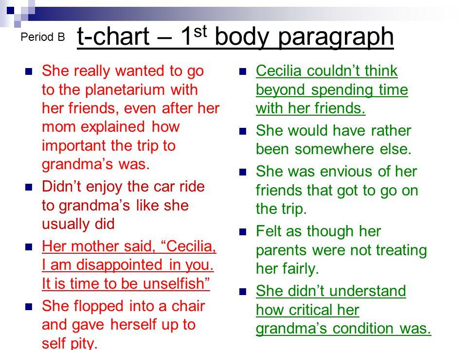 t-chart – 1st body paragraph