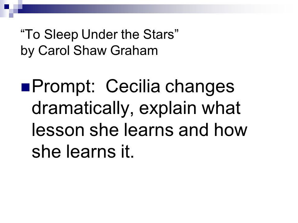 To Sleep Under the Stars by Carol Shaw Graham