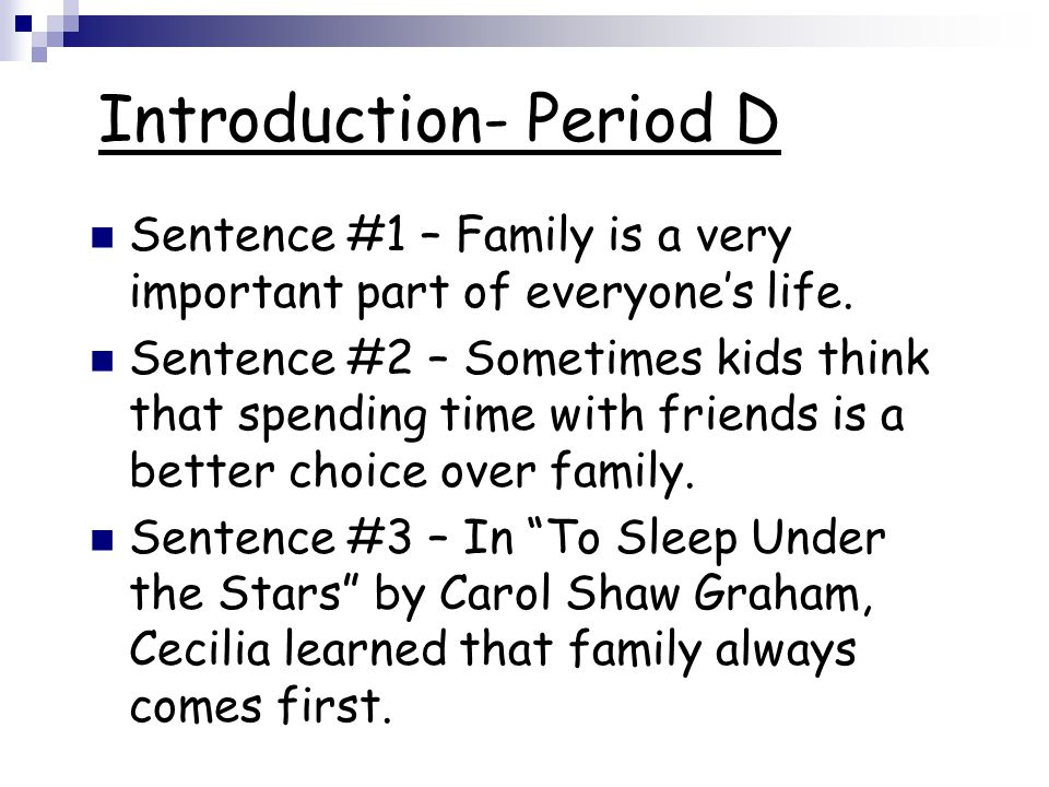Introduction- Period D