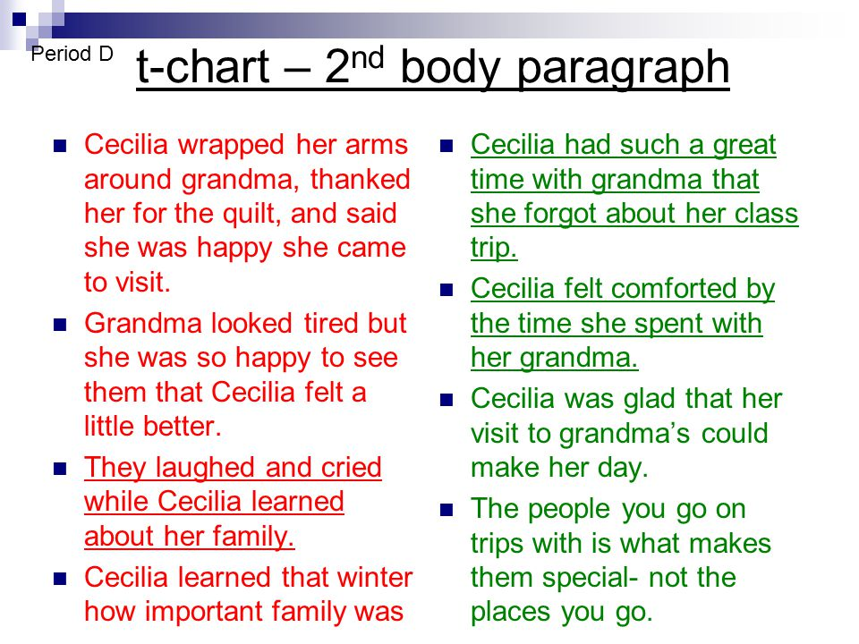 t-chart – 2nd body paragraph