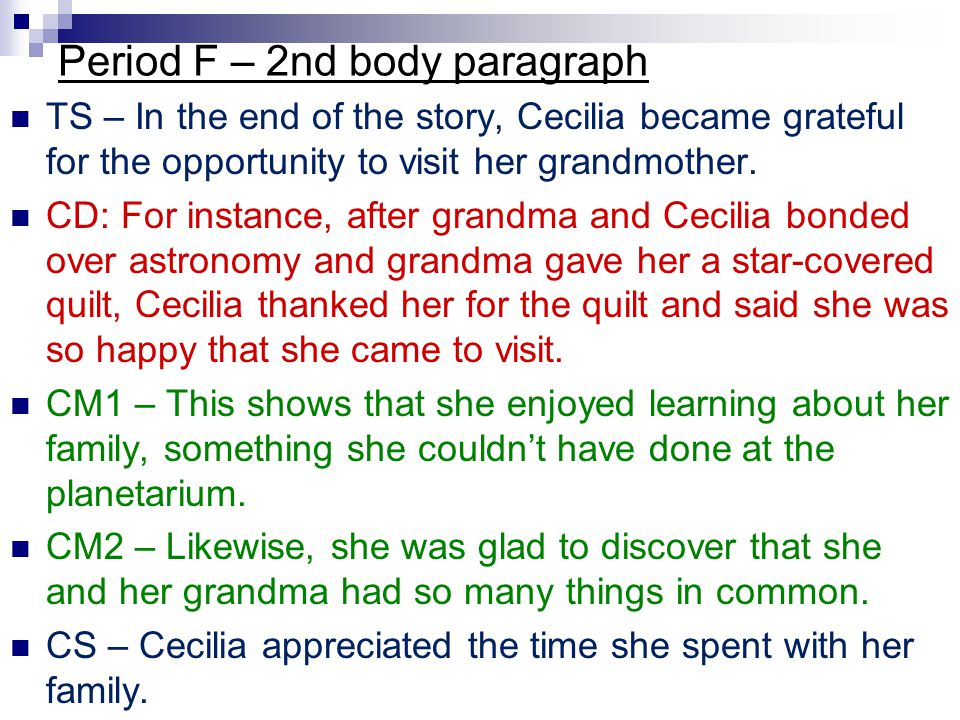 Period F – 2nd body paragraph