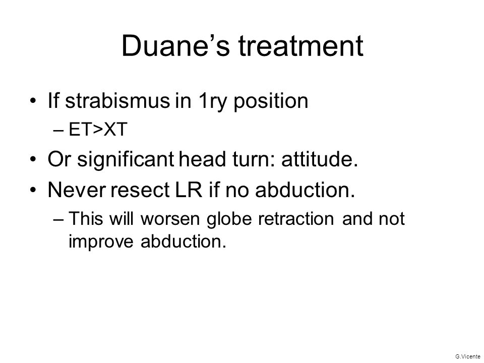 Duane's treatment If strabismus in 1ry position