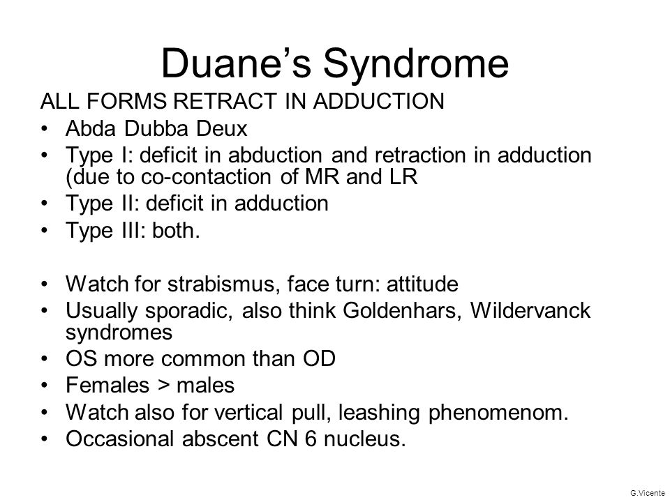 Duane's Syndrome ALL FORMS RETRACT IN ADDUCTION Abda Dubba Deux