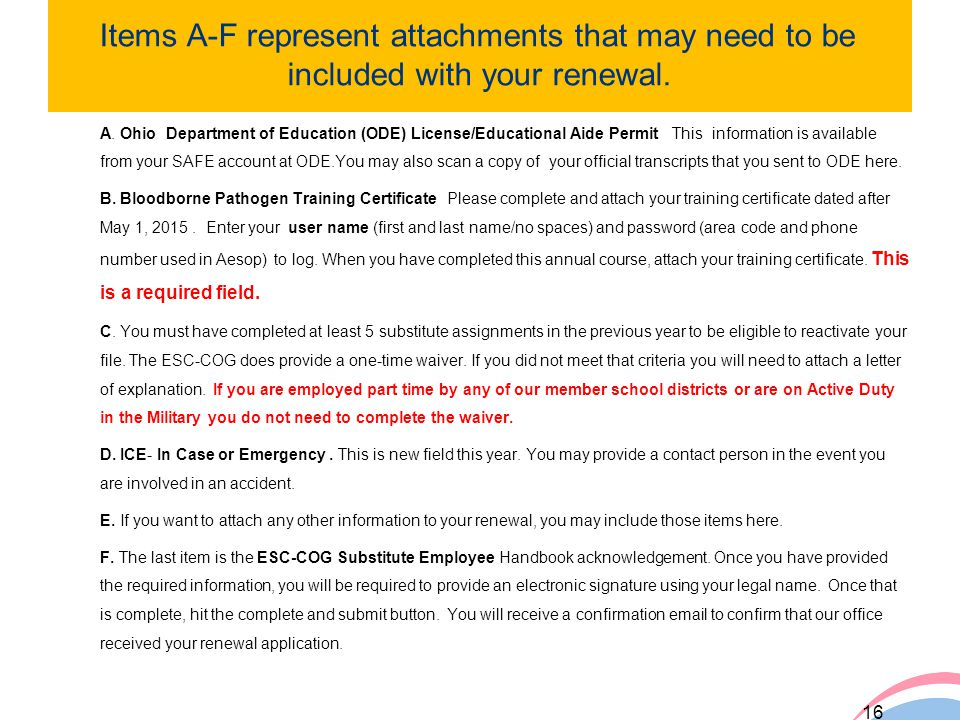 Items A-F represent attachments that may need to be included with your renewal.