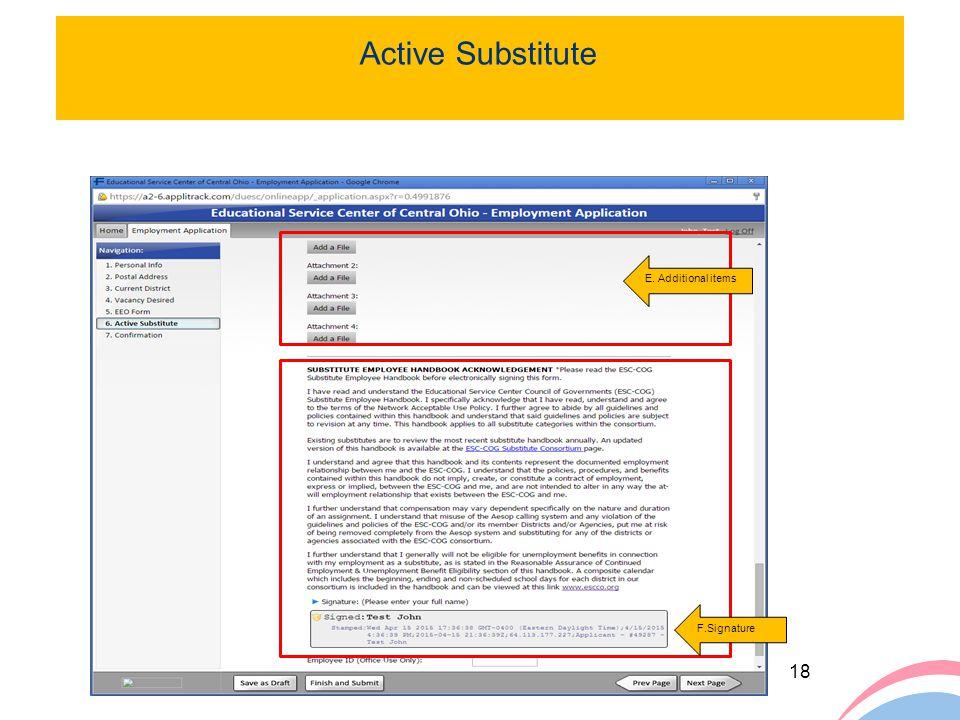 Active Substitute E. Additional items F.Signature