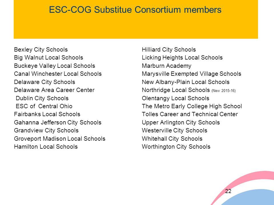 ESC-COG Substitue Consortium members