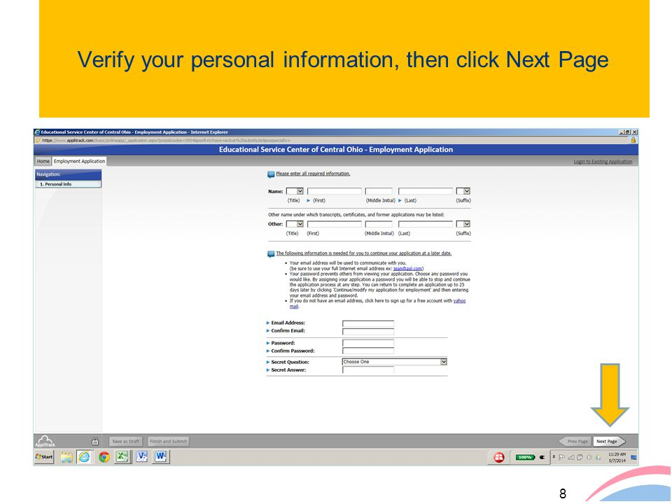 Verify your personal information, then click Next Page