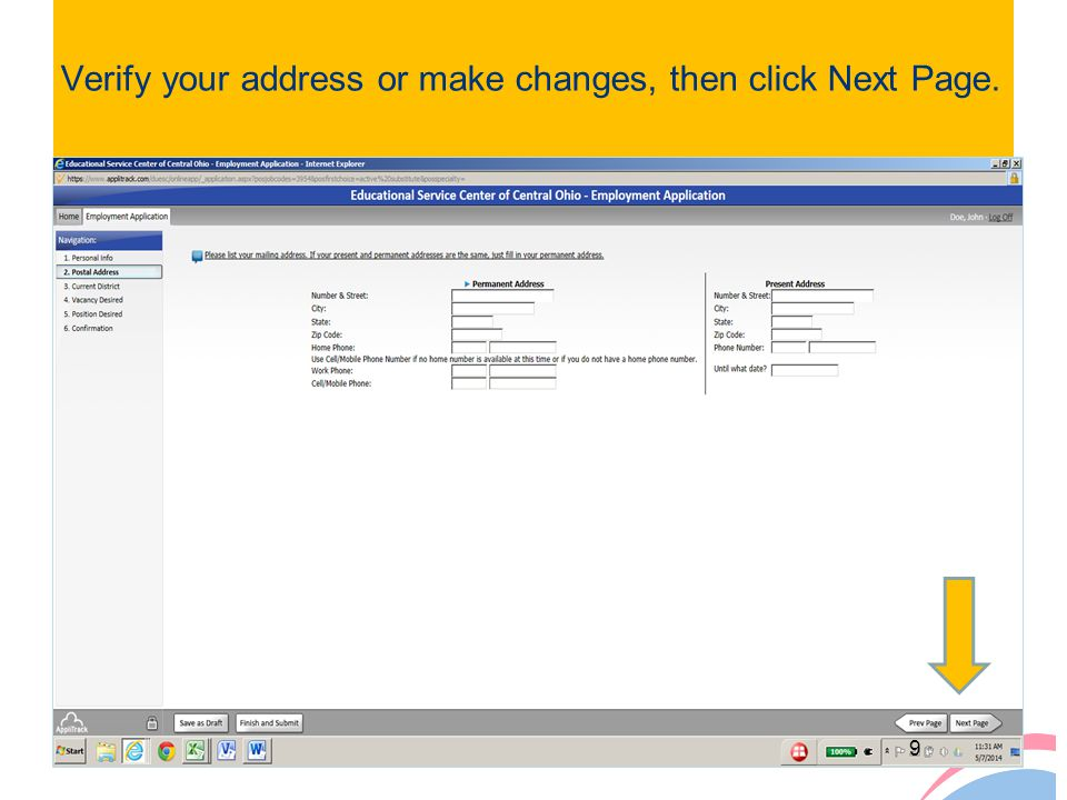Verify your address or make changes, then click Next Page.