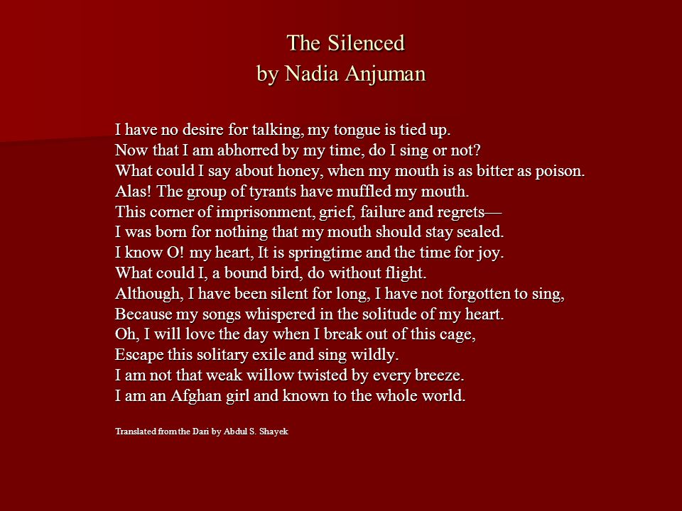 The Silenced by Nadia Anjuman