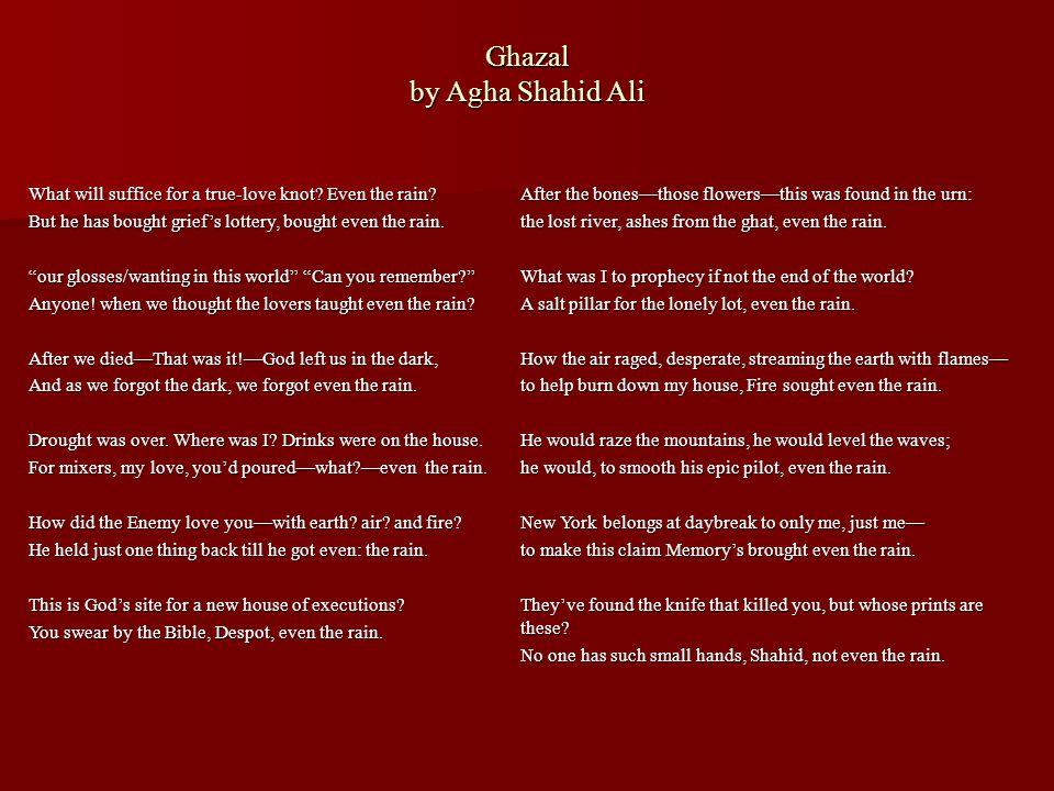Ghazal by Agha Shahid Ali