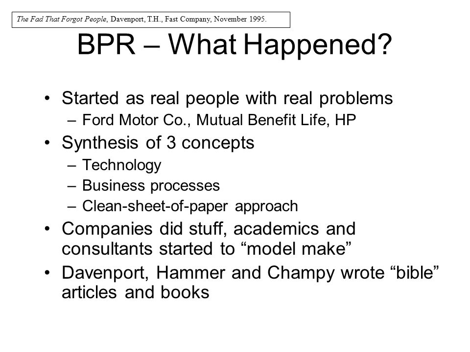 BPR – What Happened Started as real people with real problems