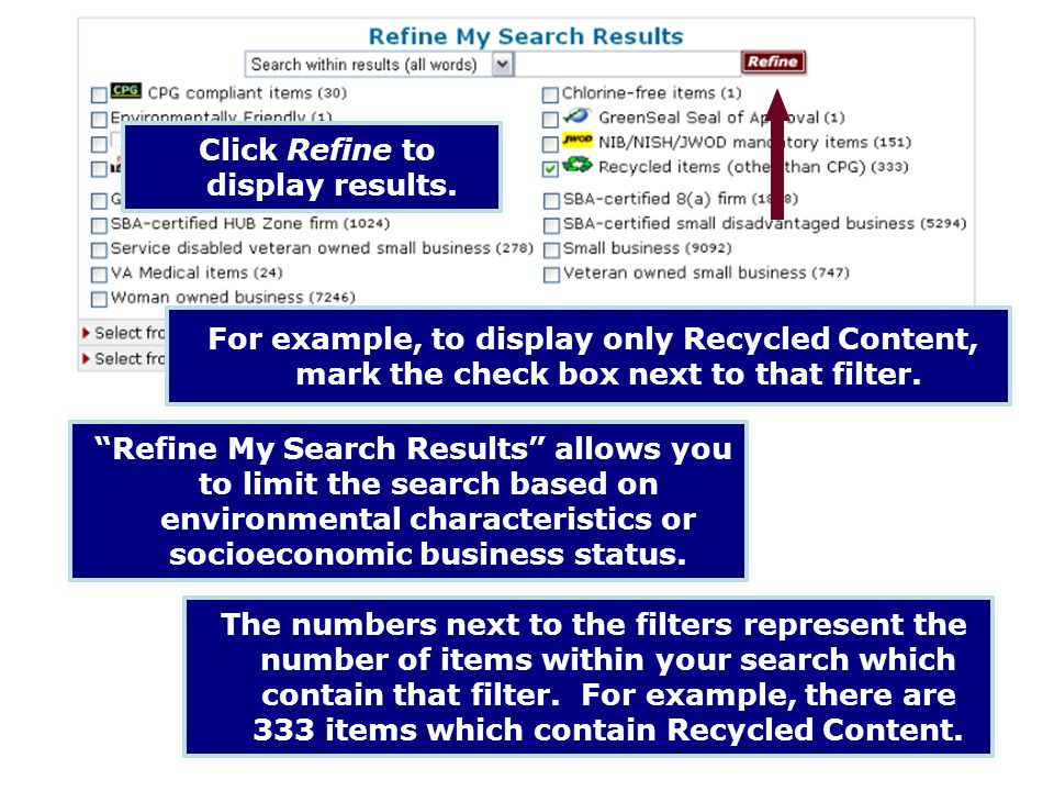 Click Refine to display results.