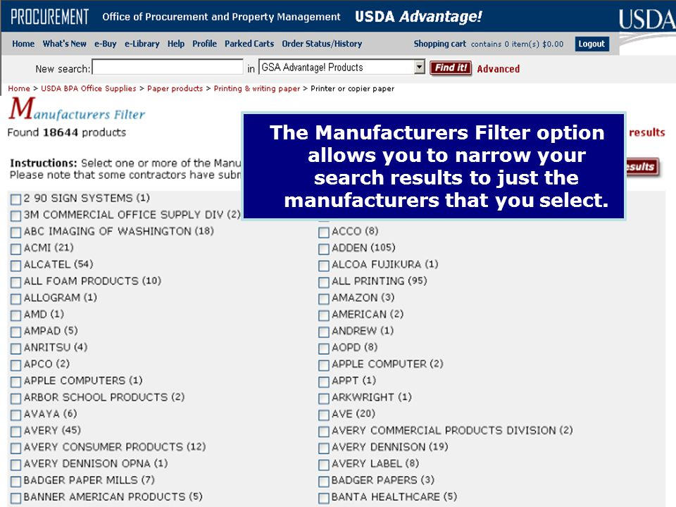 The Manufacturers Filter option allows you to narrow your search results to just the manufacturers that you select.