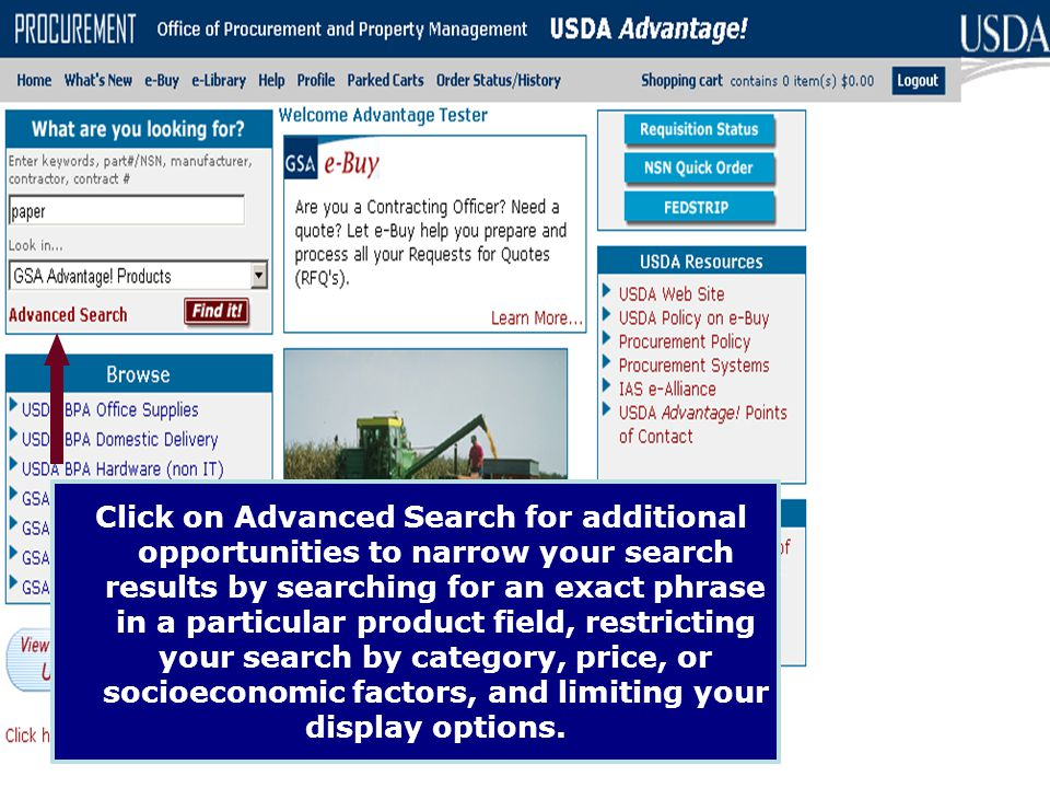 Click on Advanced Search for additional opportunities to narrow your search results by searching for an exact phrase in a particular product field, restricting your search by category, price, or socioeconomic factors, and limiting your display options.