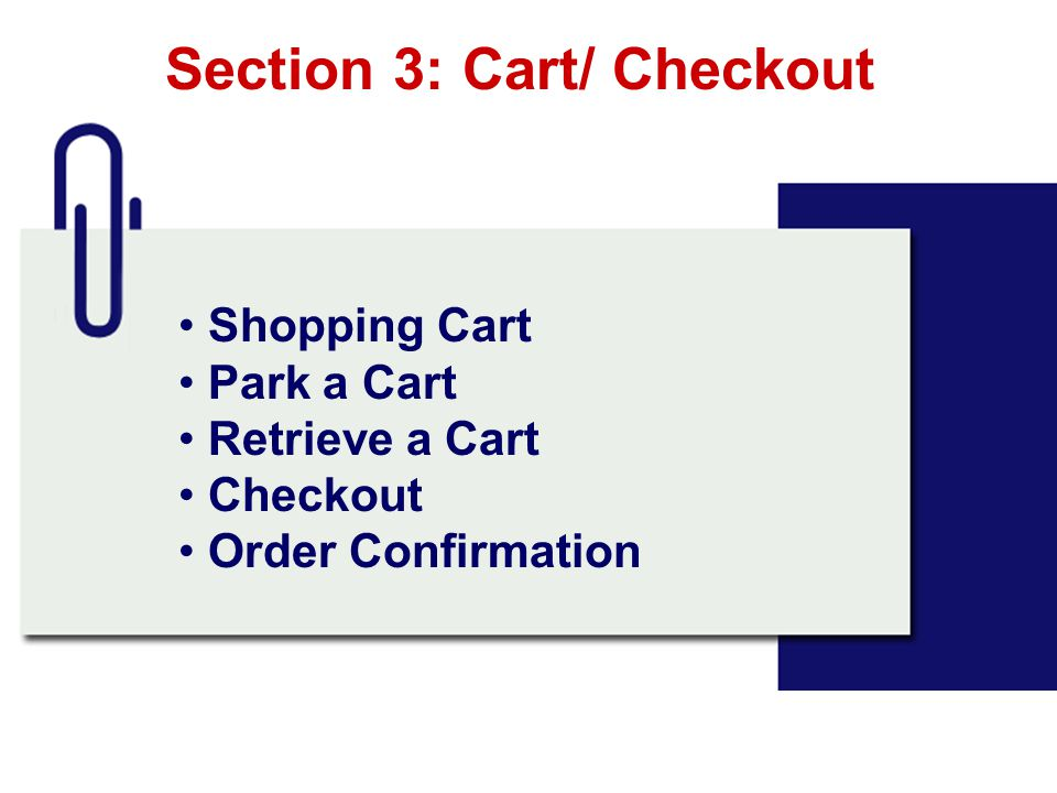 Section 3: Cart/ Checkout