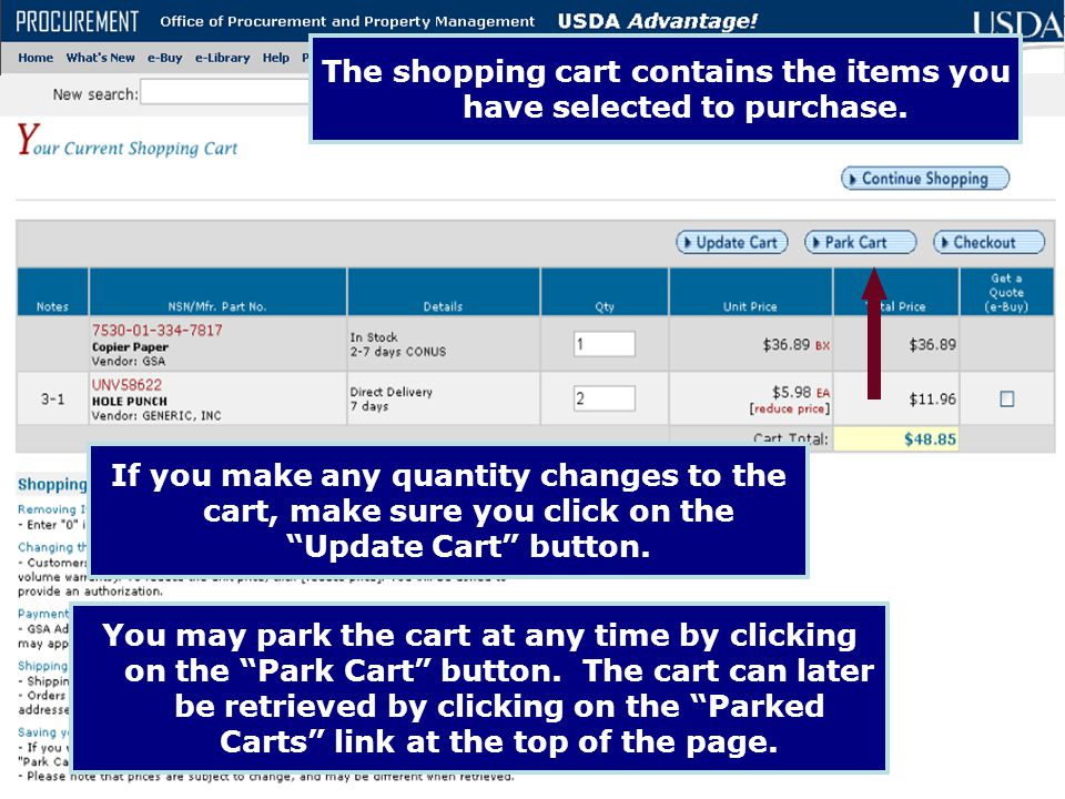The shopping cart contains the items you have selected to purchase.