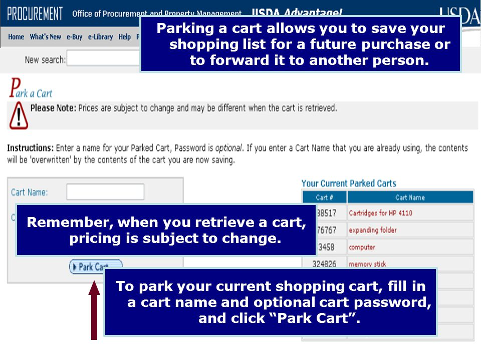 Remember, when you retrieve a cart, pricing is subject to change.