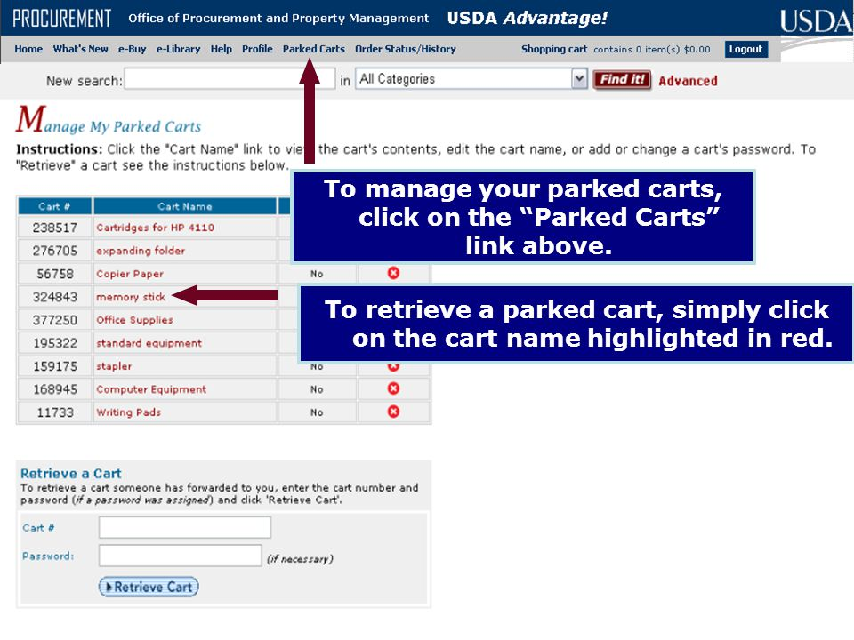 To manage your parked carts, click on the Parked Carts link above.