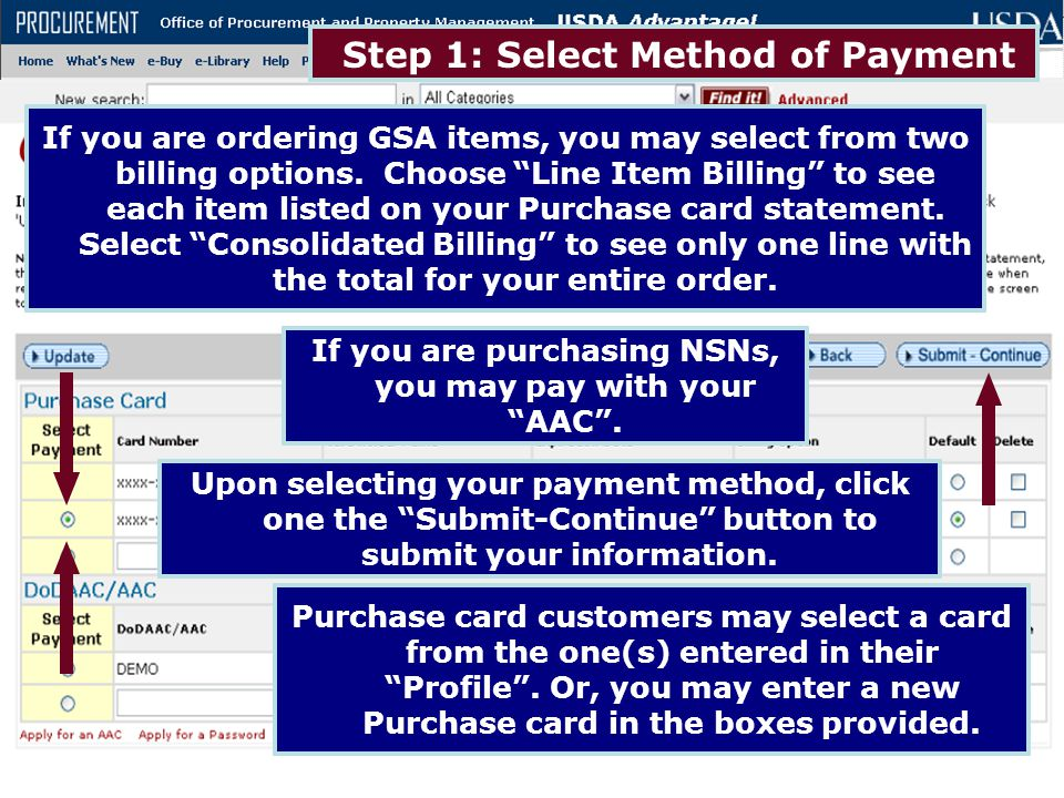 Step 1: Select Method of Payment