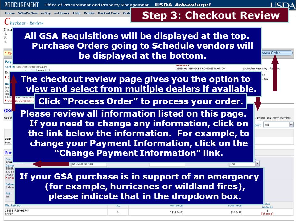 Click Process Order to process your order.