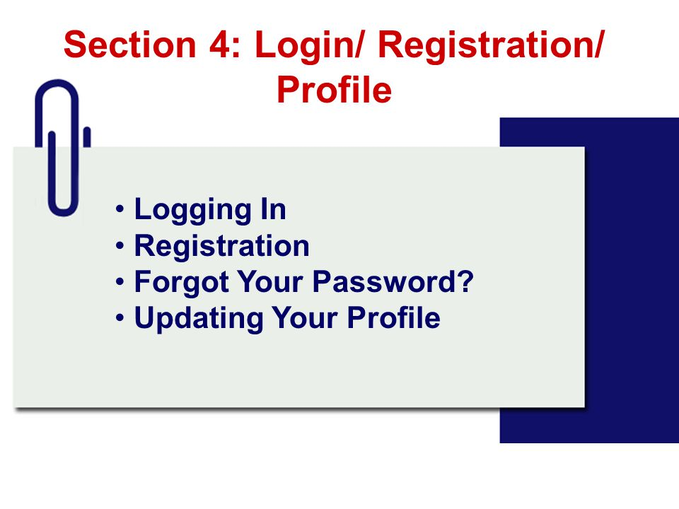 Section 4: Login/ Registration/ Profile