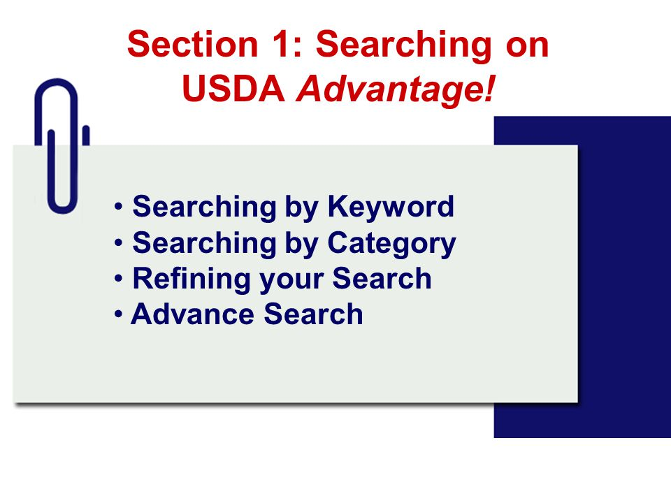 Section 1: Searching on USDA Advantage!