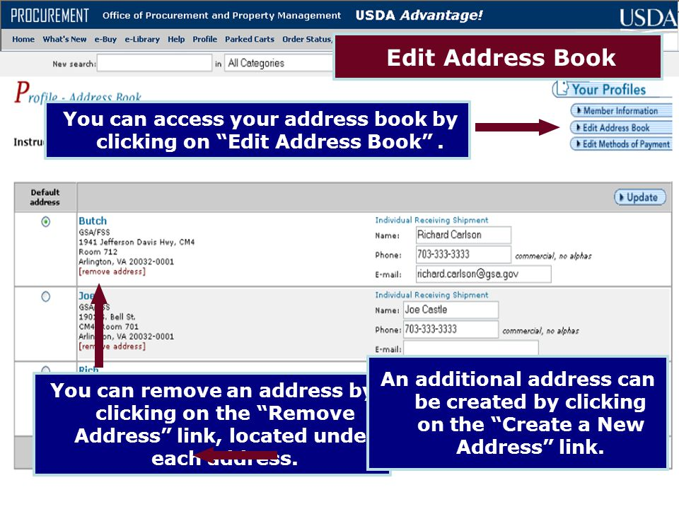 You can access your address book by clicking on Edit Address Book .