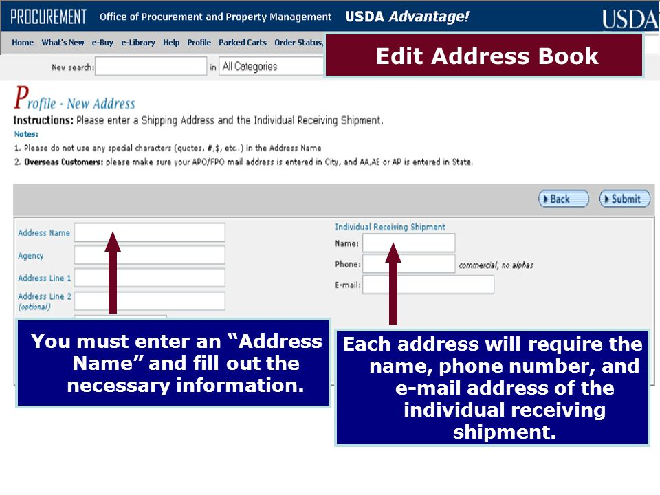Edit Address Book You must enter an Address Name and fill out the necessary information.