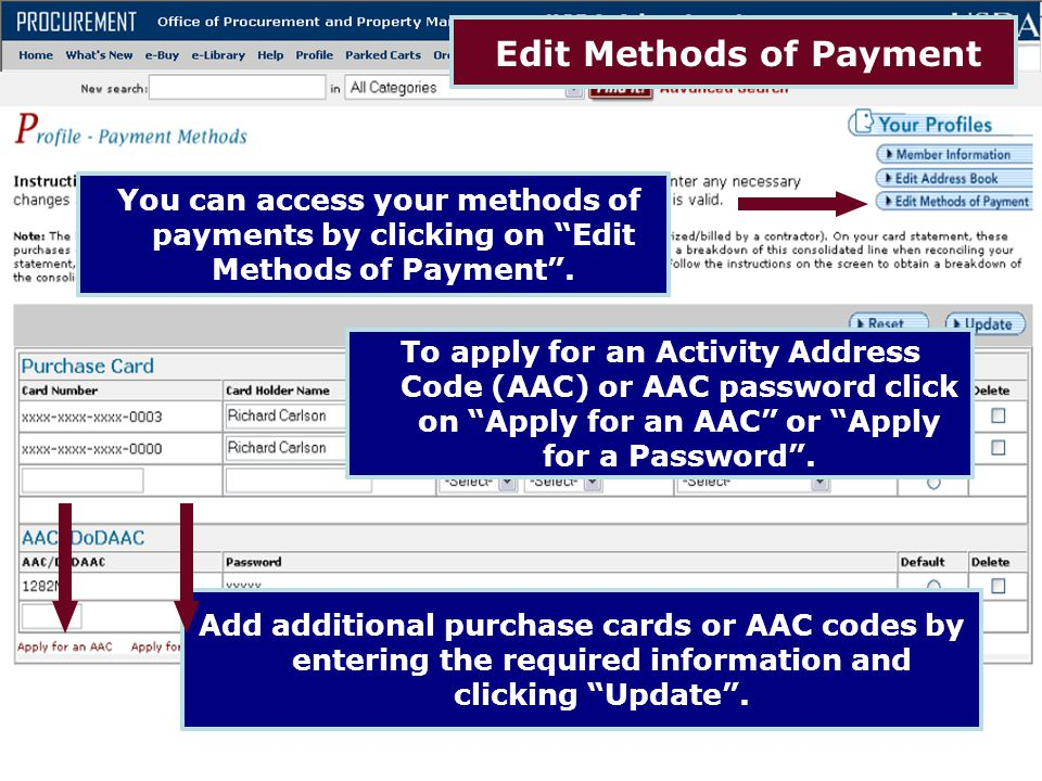Edit Methods of Payment