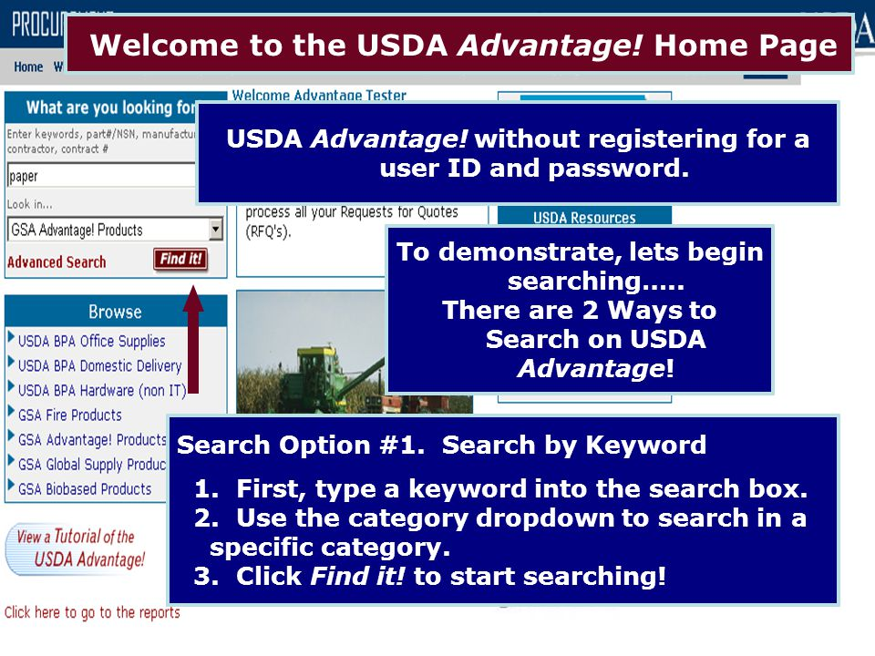 Welcome to the USDA Advantage! Home Page