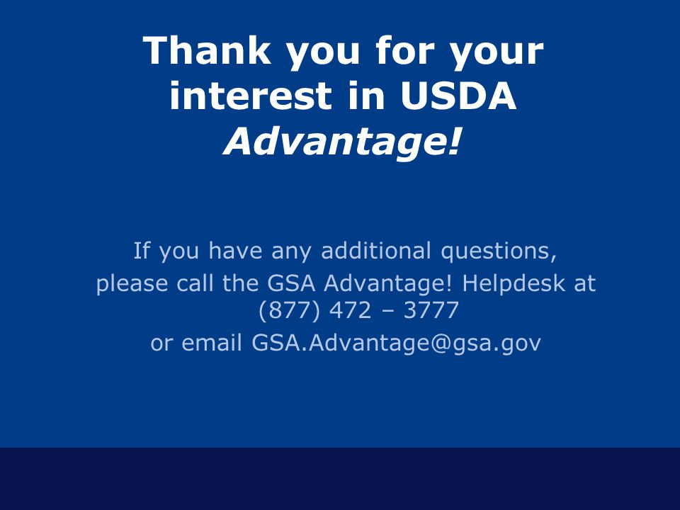 Thank you for your interest in USDA Advantage!