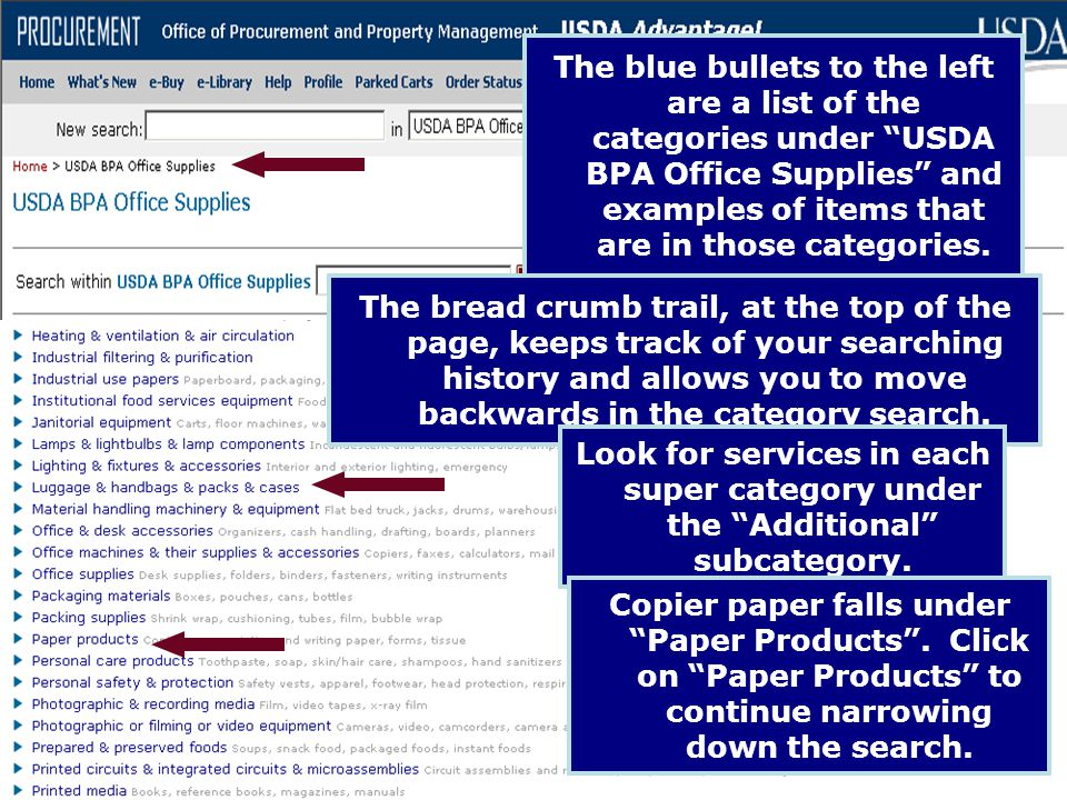The blue bullets to the left are a list of the categories under USDA BPA Office Supplies and examples of items that are in those categories.