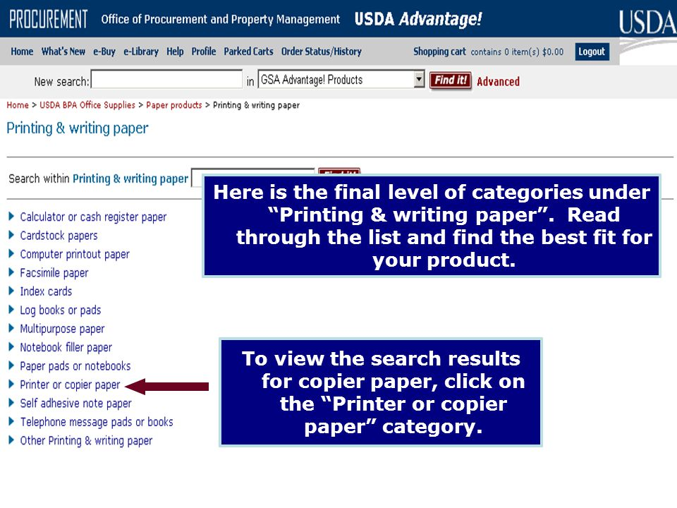 Here is the final level of categories under Printing & writing paper
