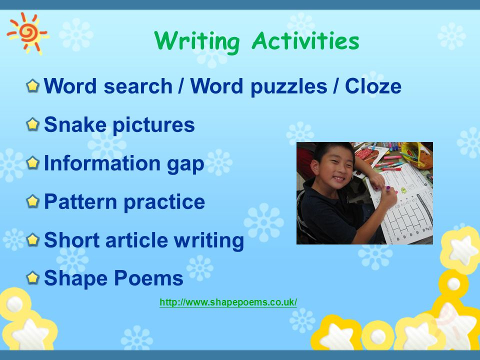 Writing Activities Word search / Word puzzles / Cloze ( Snake pictures