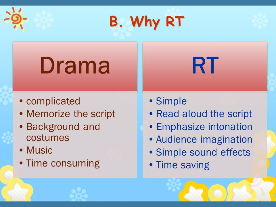B. Why RT Drama RT complicated Memorize the script