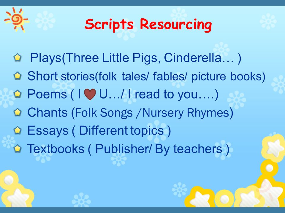 Scripts Resourcing Plays(Three Little Pigs, Cinderella… )