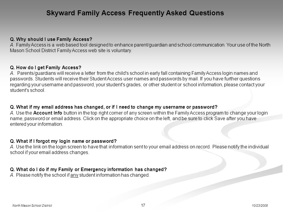 Skyward Family Access Frequently Asked Questions