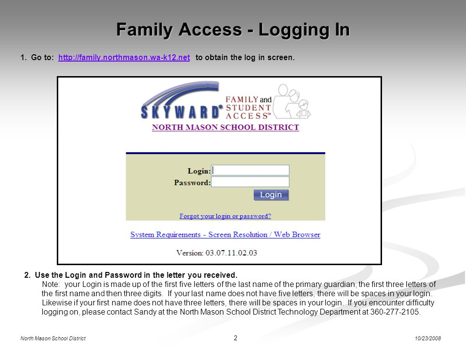 Family Access - Logging In