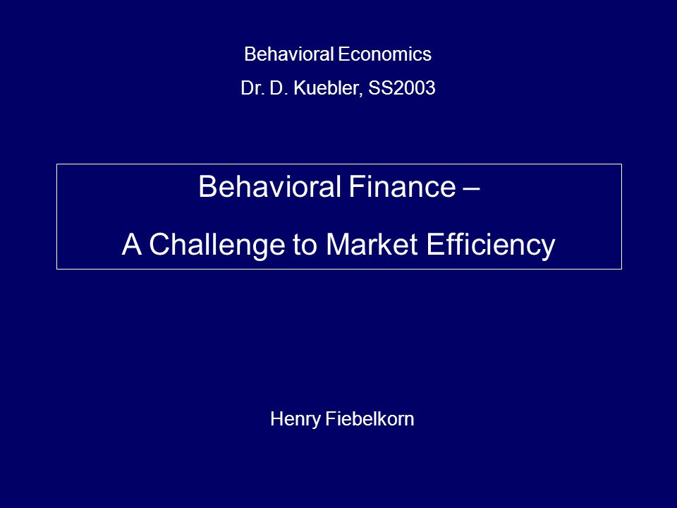 A Challenge to Market Efficiency