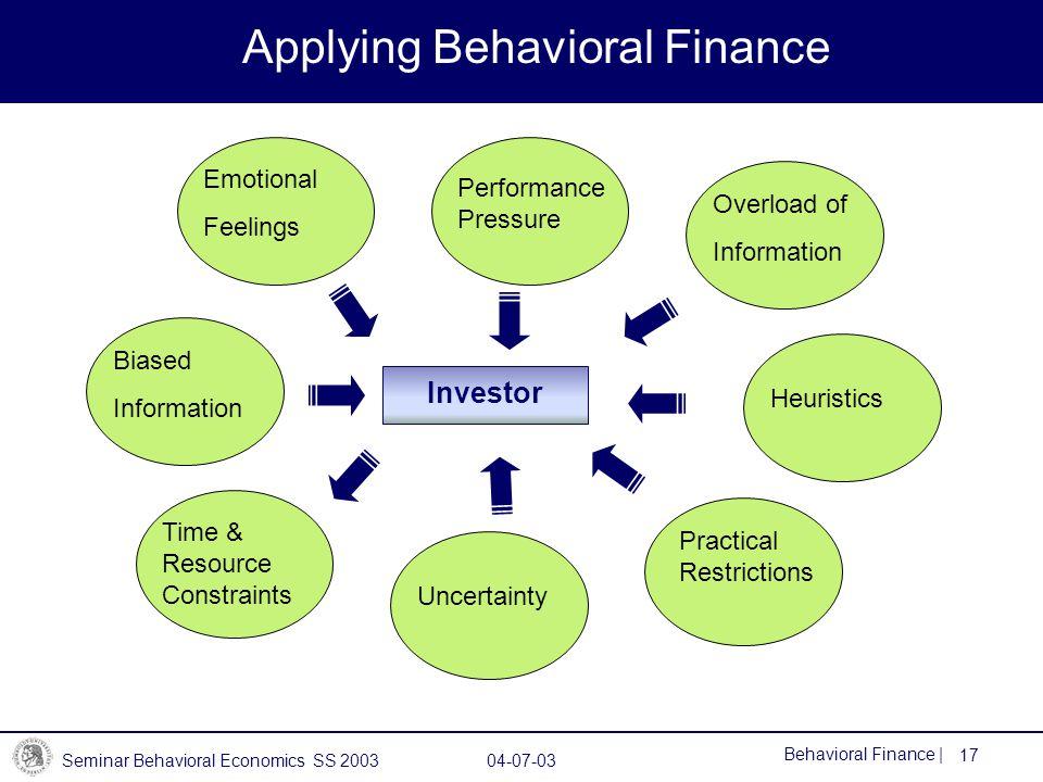 Applying Behavioral Finance