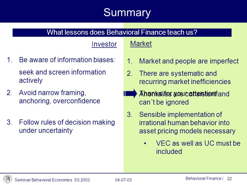 What lessons does Behavioral Finance teach us
