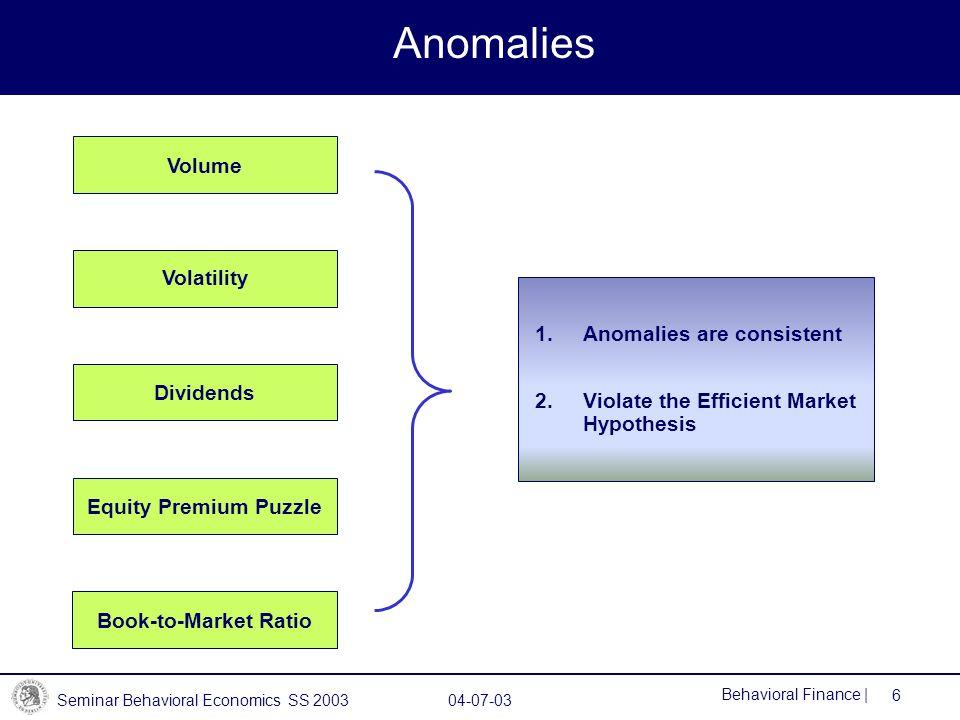 Anomalies Volume Volatility Anomalies are consistent