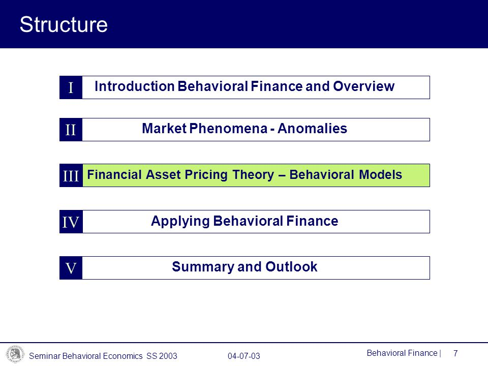 Structure I II III IV V Introduction Behavioral Finance and Overview
