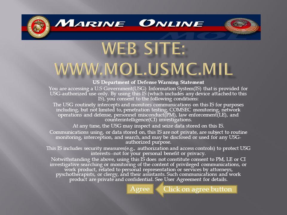 WEB SITE: www.mol.usmc.mil