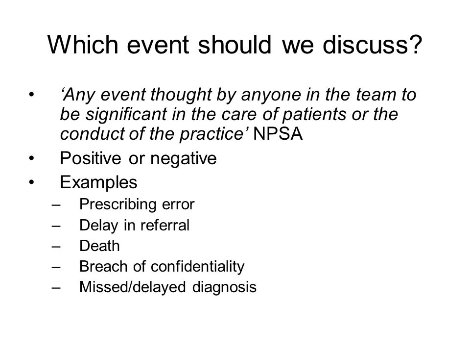 Which event should we discuss