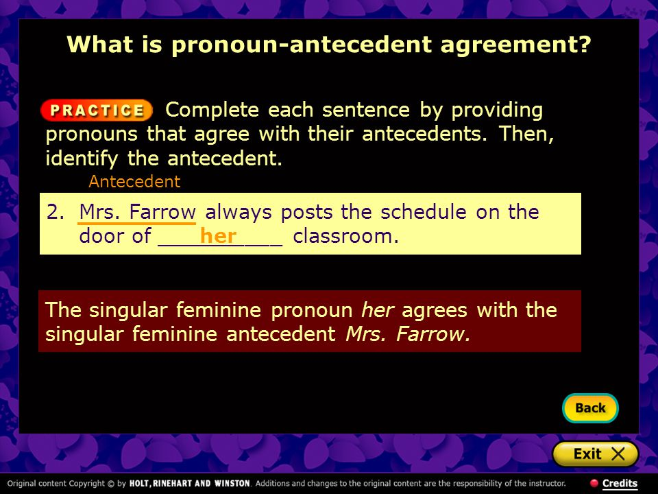What is pronoun-antecedent agreement