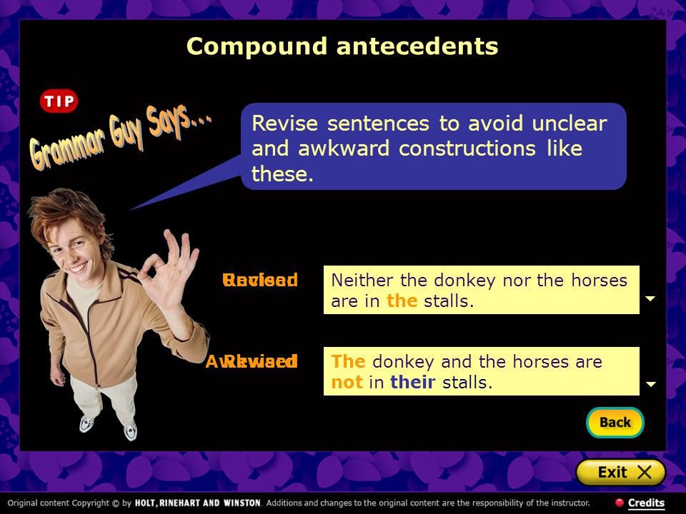 Grammar Guy Says... Compound antecedents